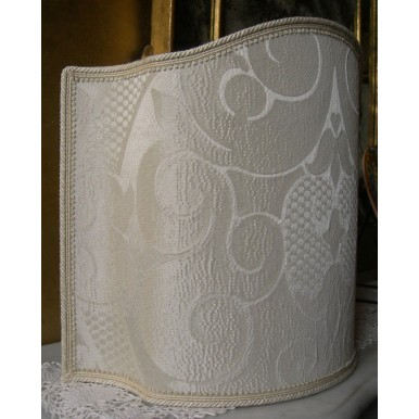Venetian Lampshade in Rubelli Crinkled Damask Fabric Ivory Sir Francis Pattern Half Lamp Shade