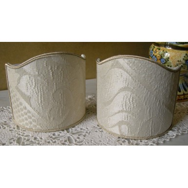 Clip-On Shield Shade Rubelli Sir Francis Ivory Crinkled Damask Fabric Mini Lampshade