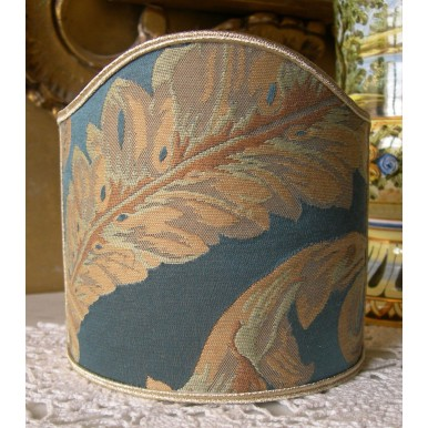 Clip-On Mini Lampshade Rubelli Labuan Blue Silk Damask Fabric Shield Shade