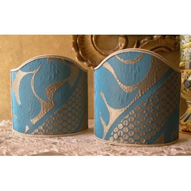 Ventolina per Applique in Damasco Crespo Rubelli Sir Francis Blu e Oro