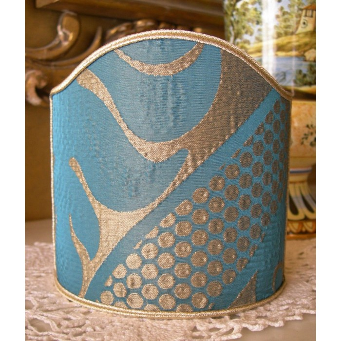 Clip-On Shield Shade Rubelli Sir Francis Blue Gold Crinkled Damask Fabric Mini Lampshade
