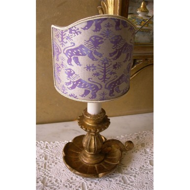 Antique Italian Gilt Carved Wood Candlestick Table Lamp with Purple Fortuny Lamp Shade