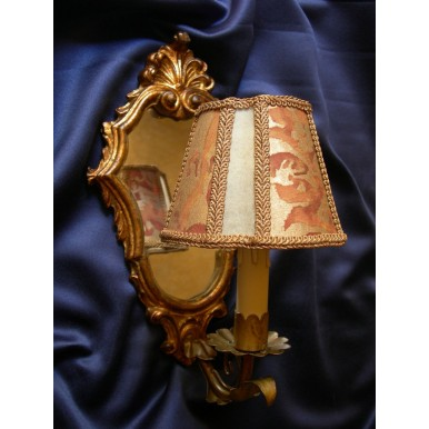 Antique Venetian Gilt Carved Wooden Mirror Wall Sconce with Fortuny Lamp Shade