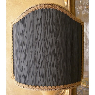 Venetian Lampshade in Rubelli Black Pleated Taffetas Fabric Half Lamp Shade
