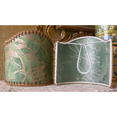 Wall Sconce Clip-On Shield Shade Fortuny Fabric Olimpia in Green & Silvery Gold Mini Lamp Shade