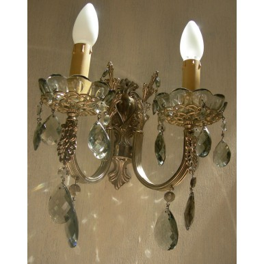 Italian Antique Silver Bronze and Smokey Crystal Wall Sconces with Silk Rubelli Lamp Shades