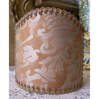 Wall Sconce Clip-On Shield Shade Fortuny Fabric Warm French Brown & Gold Sevigne Pattern Mini Lampshade
