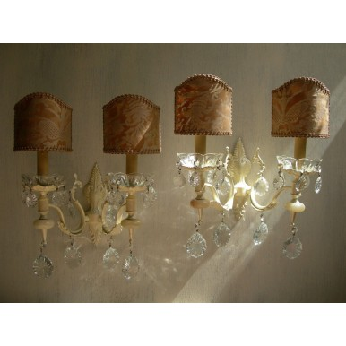 Pair of Italian Antique Painted Bronze and Crystal Wall Sconces with French Brown Fortuny Lamp Shades