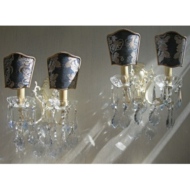 Pair of Antique Italian Painted Bronze Crystal Wall Sconces with Blue Fortuny Fabric Clip On Lamp Shades