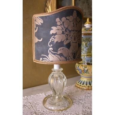 Vintage Lampe de Chevet en Verre de Murano avec Abat Jour à Pince en Tissu Fortuny Dandolo Bleu et Or