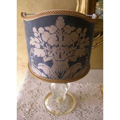 Lume Vintage in Vetro di Murano con Paralume in Tessuto Fortuny Blu e Oro
