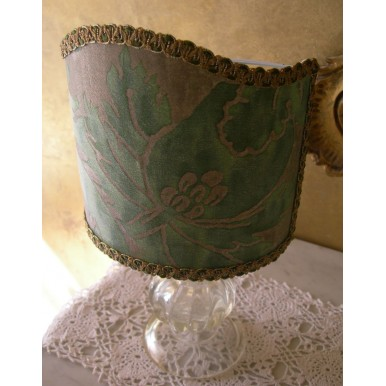Lume Vintage in Vetro di Murano con Paralume in Tessuto Fortuny Olimpia Verde e Oro