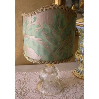 Vintage Murano Glass Table Lamp with Green and Gold Olimpia Fortuny Fabric Clip On Lamp Shade