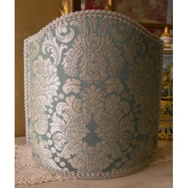 Venetian Lampshade in Rubelli Silk Brocatelle Fabric Tebaldo Aqua Pattern Half Lamp Shade