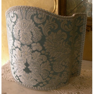 Venetian Lampshade in Rubelli Silk Brocatelle Fabric Tebaldo Aqua Pattern Half Lamp Shade