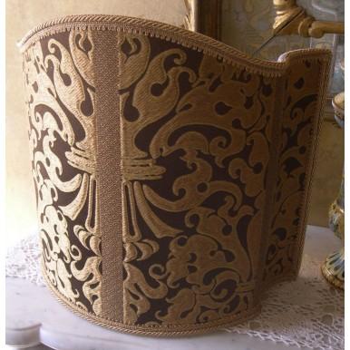 Venetian Lampshade in Rubelli Silk Lampas Fabric Brown and Gold Belisario Pattern Half Lamp Shade