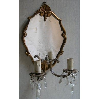 Antique Pair of Venetian Gilt Bronze and Crystal Mirror Wall Sconces with Rubelli Fabric Clip On Mini Lamp Shade