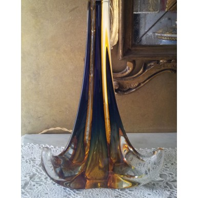 Vintage Amber Murano Glass Table Lamp with Rubelli Brown and Gold Fabric Lamp Shade