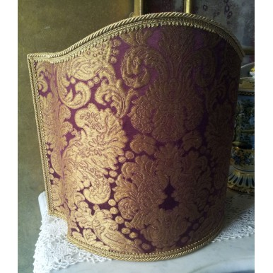 Venetian Lampshade in Rubelli Silk Brocatelle Fabric Tebaldo Amethyst Pattern Half Lamp Shade
