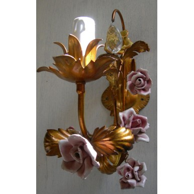 Pair of Antique Italian Gilded Tole Porcelain Flowers Wall Sconces with Roses Fabric Clip On Lamp Shades