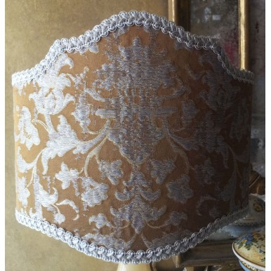 Half Lamp Shade in Rubelli Silk Jacquard Fabric Bronze & Silver Les Indes Galantes Pattern