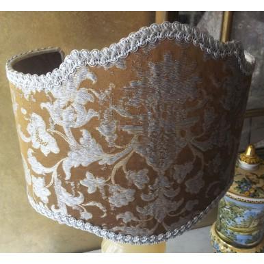 Paralume Ventola Artigianale in Tessuto Jacquard di Seta Rubelli Les Indes Galantes Bronzo e Argento