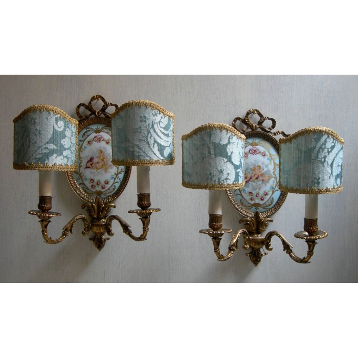 Antique Pair of French Louis XVI Gilt Bronze Porcelain Medallion Wall Sconces with Rubelli Fabric Clip On Lamp Shades