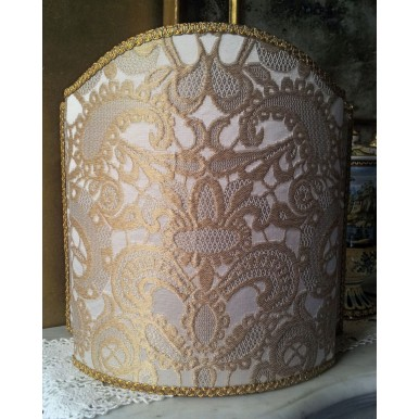 Venetian Lampshade in Rubelli Silk Lampas Fabric Ivory and Gold Gianduja Pattern Half Lamp Shade