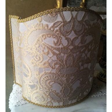 Venetian Lampshade in Rubelli Silk Lampas Fabric Ivory and Gold Gianduja Pattern Half Lamp Shade