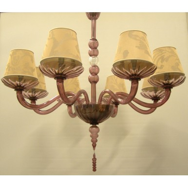 Authentic Italian Murano Amethyst Hand Blown Glass Chandelier with Rubelli Fabric Lamp Shades