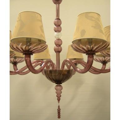 Autentico Lampadario in Vetro Soffiato di Murano Ametista con Paralumi in Tessuto Rubelli