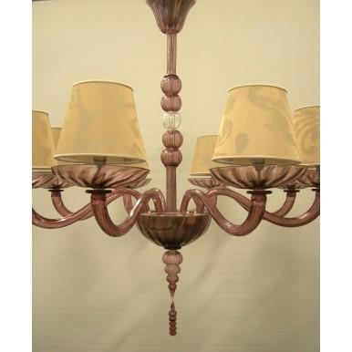 Lustre Artisanal en Verre Soufflé de Murano Améthyste avec Abat Jours en Tissu Rubelli