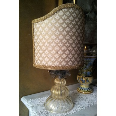 Authentic Italian Murano Gold Hand Blown Glass Table Lamp with Fortuny Fabric Lamp Shade