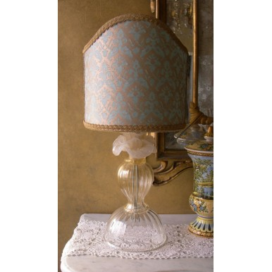 Authentic Italian Murano Ivory Flower Rose Hand Blown Glass Table Lamp with Fortuny Fabric Lamp Shade