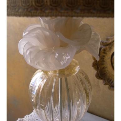 Autentica Lampada da Tavolo in Vetro Soffiato di Murano con Paralume in Tessuto Fortuny delfino