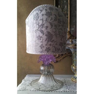 Lampe Artisanal en Verre Soufflé de Murano avec Rose en Alessandrite et Abat Jour en Tissu Rubelli