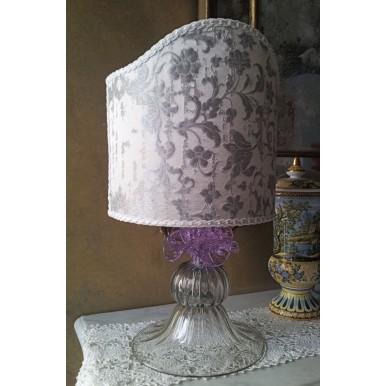 Autentica Lampada da Tavolo in Vetro Soffiato di Murano con Paralume in Tessuto Rubelli Argento