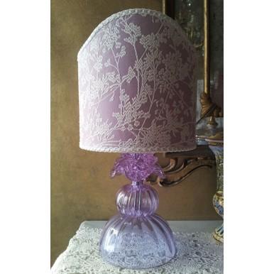 Lampe Artisanal en Verre Soufflé de Murano Couleur Alessandrite avec Abat Jour en Tissu Rubelli