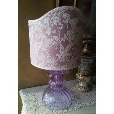 Autentica Lampada da Tavolo in Vetro Soffiato di Murano Color Alessandrite con Paralume in Tessuto Rubelli Lilla