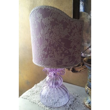 Authentic Italian Murano Alexandrite Hand Blown Glass Table Lamp with Lilac Rubelli Fabric Lamp Shade