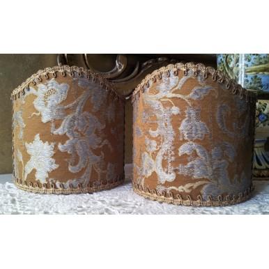 Abat Jour à Pince Fait Main en Tissu Jacquard de Soie Rubelli Les Indes Galantes Bronze et Argent