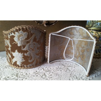 Wall Sconce Clip On Shield Shade in Bronze & Silver Silk Jacquard Rubelli Les Indes Galantes Pattern