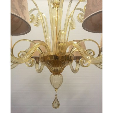 Authentic Italian Murano Amber Hand Blown Glass Chandelier with Rubelli Fabric Lamp Shades