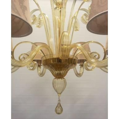 Lustre Artisanal en Verre Soufflé de Murano Ambre avec Abat Jours en Tissu Rubelli