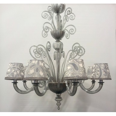 Authentic Italian Murano Grey Hand Blown Glass Chandelier with Rubelli Silk Lampas Fabric Lamp Shades