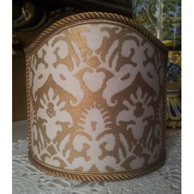 Wall Sconce Clip-On Shield Shade Fortuny Fabric Delfino Ivory & Gold Half Lamp Shade