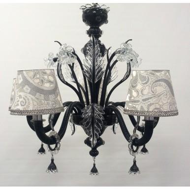 Lustre Artisanal en Verre Soufflé de Murano Noir avec Abat Jours en Tissu Lampas Rubelli