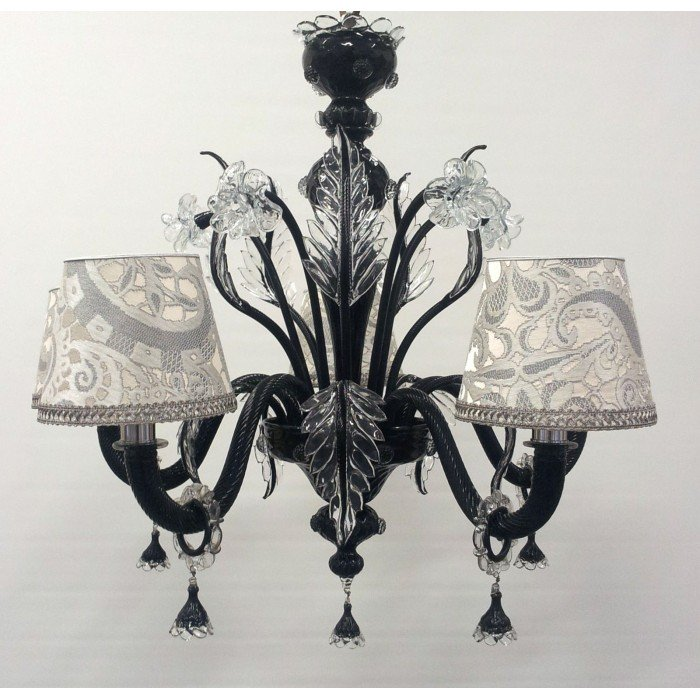 Authentic Italian Murano Black and Crystal Hand Blown Glass Chandelier with Rubelli Silk Lampas Fabric Lamp Shades