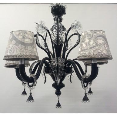 Autentico Lampadario in Vetro Soffiato di Murano Nero e Cristallo con Paralumi in Tessuto Lampasso Rubelli