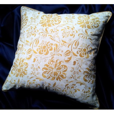 Throw Pillow Cushion Case Fortuny Fabric Yellow and White Cimarosa Pattern